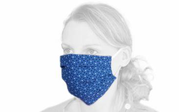 Baumwoll-Behelfs-Maske (Faltmaske blau)