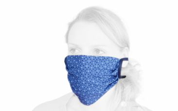 Baumwoll-Behelfs-Maske (Faltmaske blau zum Binden)