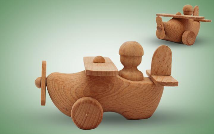 Holzspielzeug Flugzeug Stück