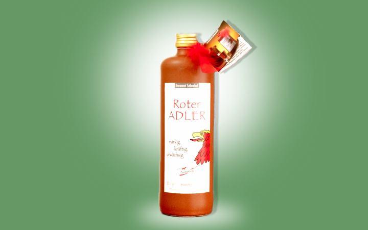 Roter-Adler Kräuterlikör in Tonflasche