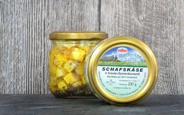 Schafskäse in Kräuter-Sonnenblumenöl 200g Glas