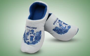 Klompenpantoffeln Blau-weiß Paar