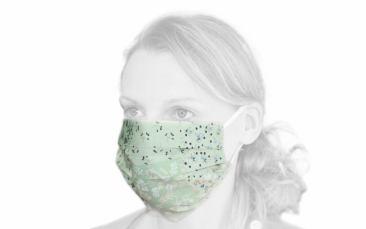 Baumwoll-Behelfs-Maske (Faltmaske grün)